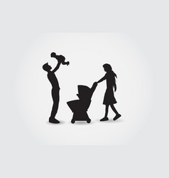 Family silhouettes have fun vector