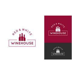 wine logo set design background vector image