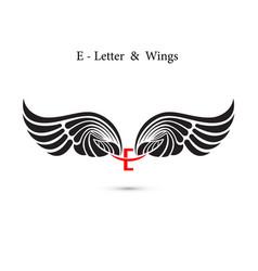 E-letter sign and angel wingsmonogram wing logo vector