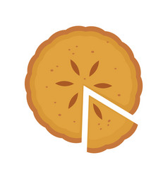 homemade sliced pie with fruit filling vector image