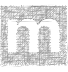 Freehand typography letter m vector