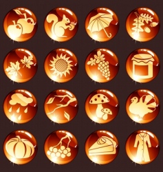 Set of red autumn icons vector