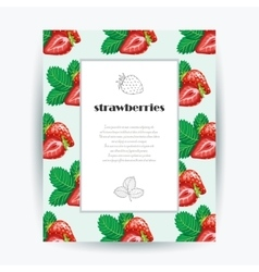 Card with strawberries and place for your vector