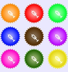 Syringe icon sign a set of nine different colored vector