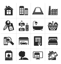 Silhouette Real Estate objects and Icons vector image