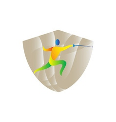 Fencing side shield retro vector
