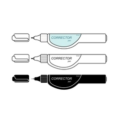 Stationery white corrector pen set vector