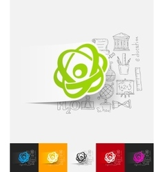 Atom paper sticker with hand drawn elements vector