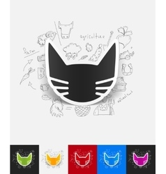 Cat paper sticker with hand drawn elements vector