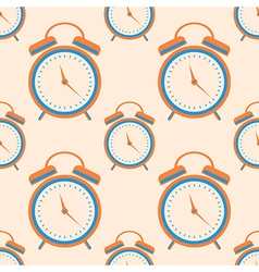 Seamless pattern with orange closeup alarm clocks vector