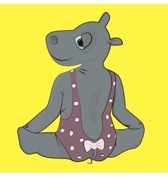 Hippo in bodysuit making gymnastics vector