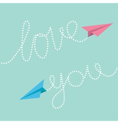 Pink and blue origami paper planes dash line text vector