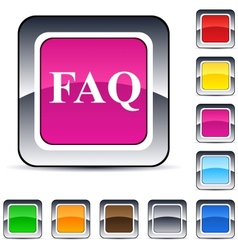 Faq square button vector