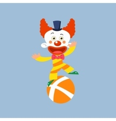 Clown balancing on one leg vector