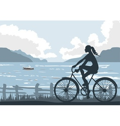 Lady Cycling by the Seaside vector image