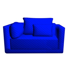 Leather blue sofa with pillows isolated on white vector