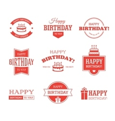 Red birthday labels set vector