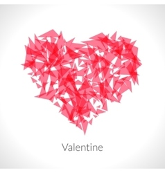 Red origami heart on white backdrop vector