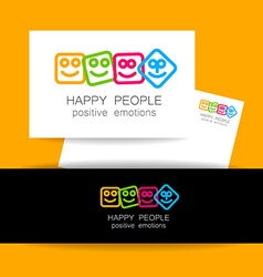 Happy people positive emotions vector