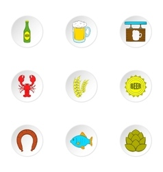 Alcoholic beverage icons set cartoon style vector