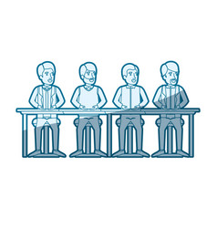 blue color silhouette shading of teamwork of men vector image