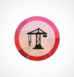 Building crane circle pink triangle background vector