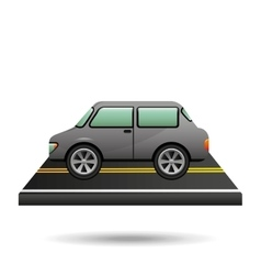 car vehicule gray on road vector image