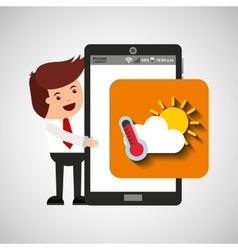 Character with mobile app weather forecast vector