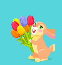 cute bunny holding bouquet of tulip cartoon vector image vector image