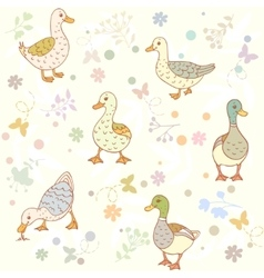 Ducks seamless pattern vector