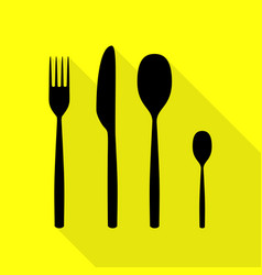 Fork spoon and knife sign black icon with flat vector