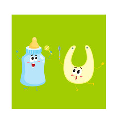 Funny milk bottle and baby bib characters child vector