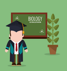 Graduate student biology plant and chalkboard vector