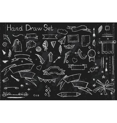 Hand drown set on black background of pencil vector image