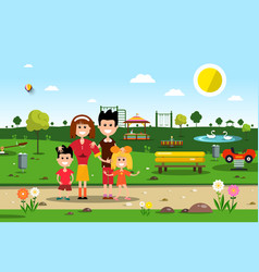 Happy family in park spring landscape vector