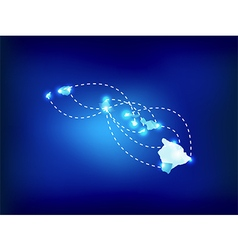 Hawaii state map polygonal with spot lights places vector image