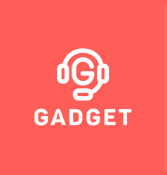 Headphones with letter g from center of the gadget vector