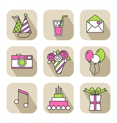 Holiday flat icons happy birthday set vector image vector image