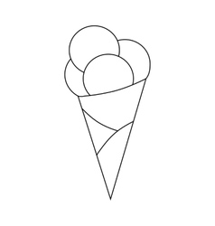 Ice cream scoops in cone icon outline style vector