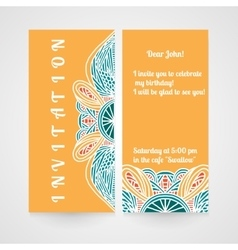 Invitation with abstract hand drawn pattern vector
