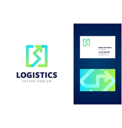 Logistics logo and business card template vector