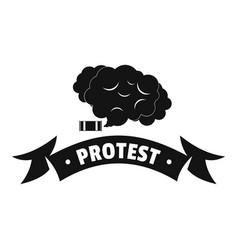 protester smoke logo simple black style vector image vector image