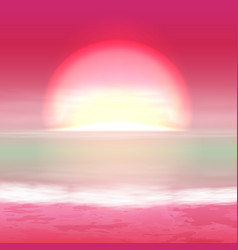 Sea sunset with bright sun vector