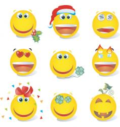 smiley set holiday vector image