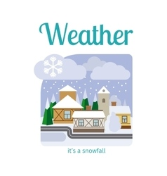 Snowfall in town vector
