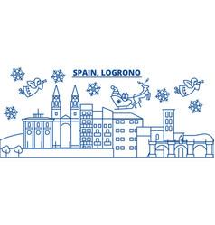 Spain logrono winter city skyline merry vector