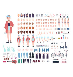 teenager character constructor young trendy girl vector image vector image