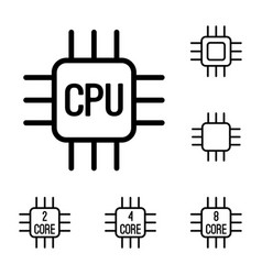 thin line cpu processor icons set vector image