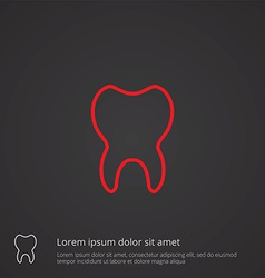 tooth outline symbol red on dark background logo vector image vector image