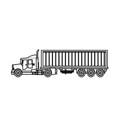 Truck cargo container trailer outline vector